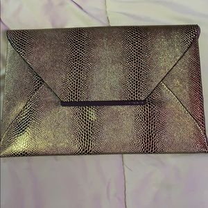 Bcbg gold faux snake skin bag